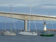 Yachts moored by the Skye Bridge